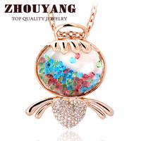 ZYM037 Lovely Angel Sweater Chain Transparent Necklace Rose Gold Color Pendant Necklace Jewelry Austrian Crystal Wholesale