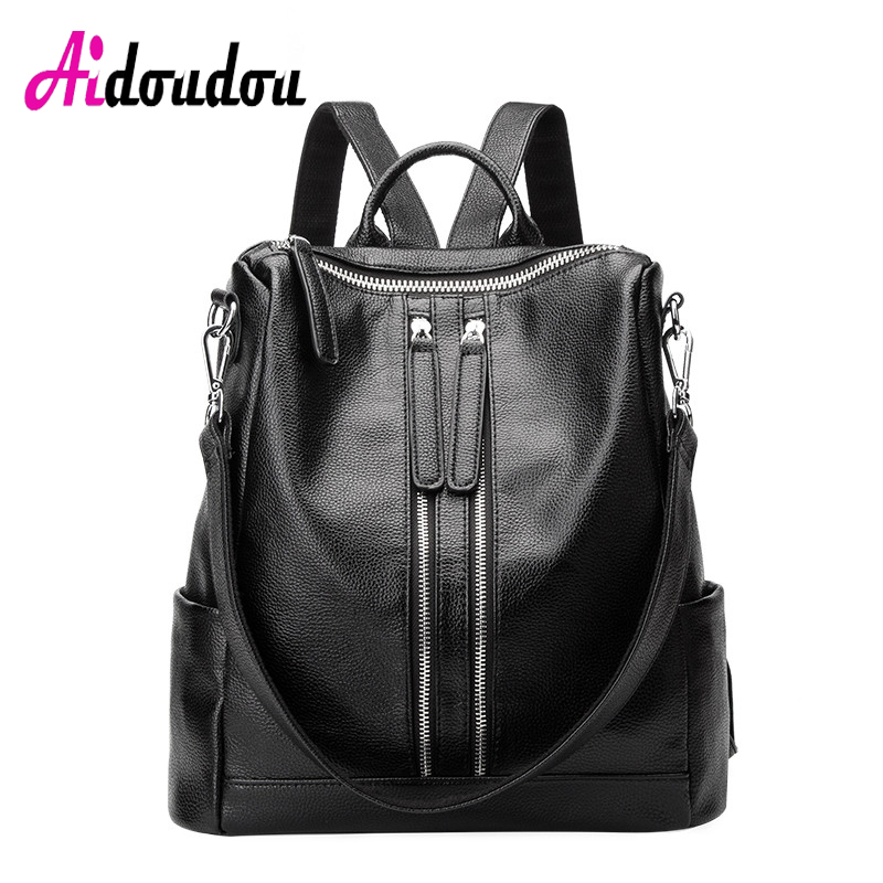 AIDOUDOU BRAND PU Leather Backpacks Unisex Daily Casual Shoulder Daypack teen sac a dos Convertible Ladies