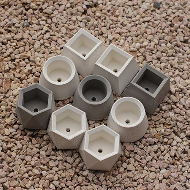 Geometric shape round square hexagonal concrete flowerpot silicone mold succulent green plant cement pot mold plaster mold