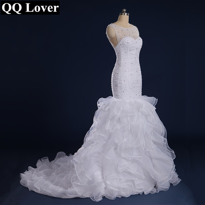 2019 Full Beaded Mermaid Ruffles Wedding Dress Custom-Made Plus Size Vestido De Noiva With Real Pictures