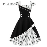 JLI MAY women retro plus size dress summer Hepburn vintage party dresses patchwork Ruffles black Dot sleeveless pinup 50s 60s