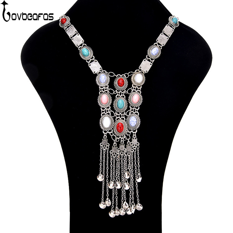 LOVBEAFAS Bohemian Maxi Long Necklace Pendant For Women Collier Jewelry Colar Vintage Multilayer Tassel Collar Boho Necklace gorgeous multilayer beads resin cone tassel necklace for women