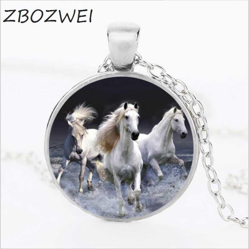 3 Màu Con Kỳ Lân Trắng Ngựa Vung Kính Cabochon Vòng Cổ Vintage Ngựa Nghệ Thuật Mặt Dây Chuyền Kính Trang Sức Áo Len Cổ