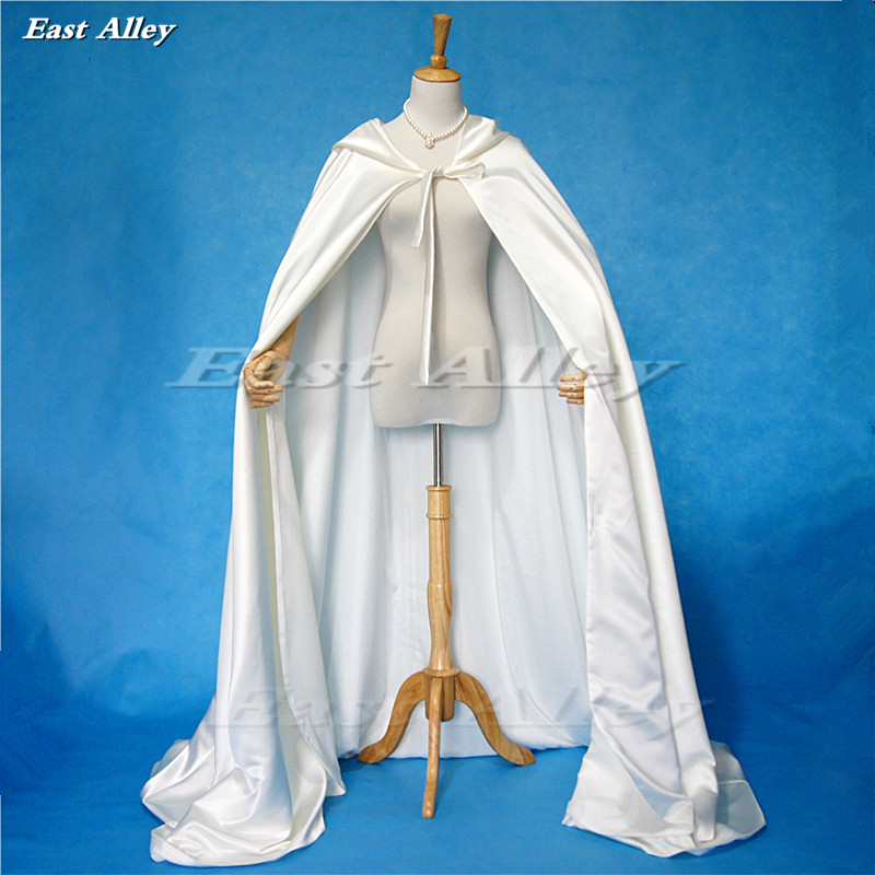 Ivory Cloak Hooded Satin Wedding Cloak Cape Costume Renaissance Medieval Clothing Fairy Adult