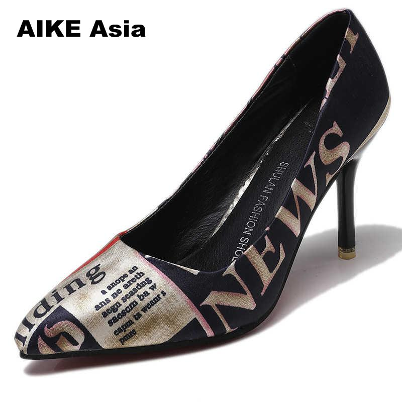 2019 Women Pumps Leopard Zebra Pattern Pointed Toe Thin Heels Shoes Woman Platform Designer Luxury Zapatos De Mujer  Wedges