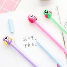 цена на 4pcs Cartoon cute Owl gel pen 0.5mm ballpoint black color pens gift Stationery gift Office accessories school supplies A6491