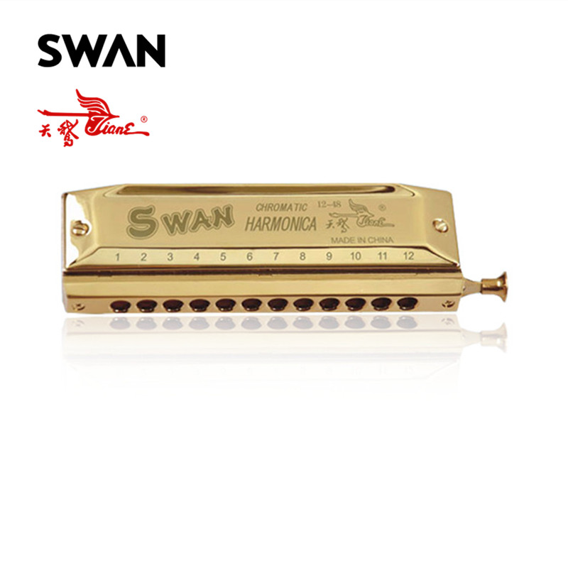 Swan SW1248-1 12 Holes 48 Tones Gold Color Chromatic Harmonica Laser Proceeded Harp Woodwind Musical Instrument With Tone Switch