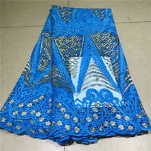 Newest blue African Lace Fabric With stones lace fabric 2019 High Quality Bridal For Nigerian  nly1-298
