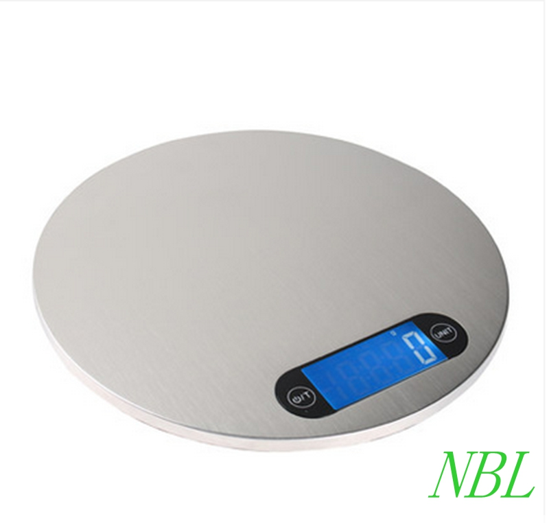 5kg*1g Stainless Steel Digital Kitchen Scale 5000g 1g Electronic Silver Round Food Cook Ebalance Scales Weight With Hook+4 Units  цены