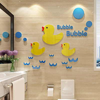 Yellow Duck Acrylic Crystal Three Dimensional Wall Stickers Children S Room Bedroom Bathroom Decoration China
