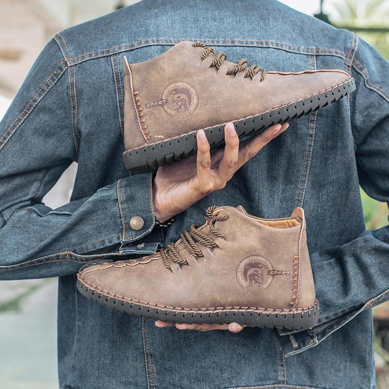 2018 nueva mantener caliente invierno hombres botas de alta calidad Split cuero Casual hombres zapatos con felpa Fahsion botas tamaño grande 40 ~ 48