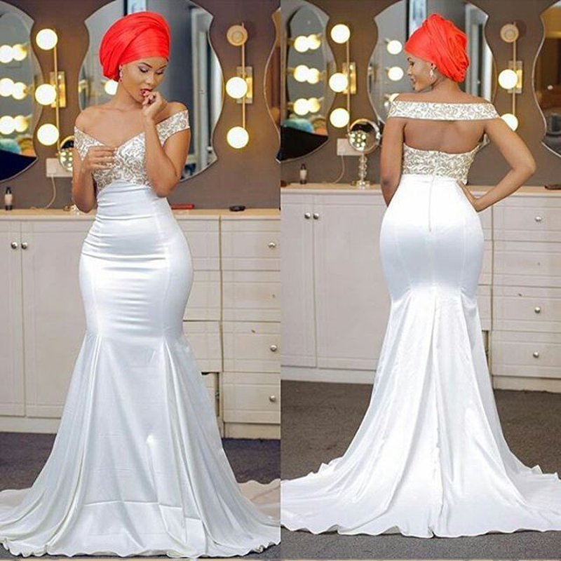 Nigerian Wedding Gowns: African Plus Size Gold Appliques Prom Dresses Long Mermaid