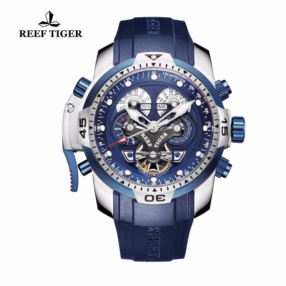 Reef Tiger/RT Designer Sport Mens Watch with Perpetual Calendar Date Day Complicated Blue Dial Mechanical Watch RGA3503 вьетнамки reef day prints palm real teal