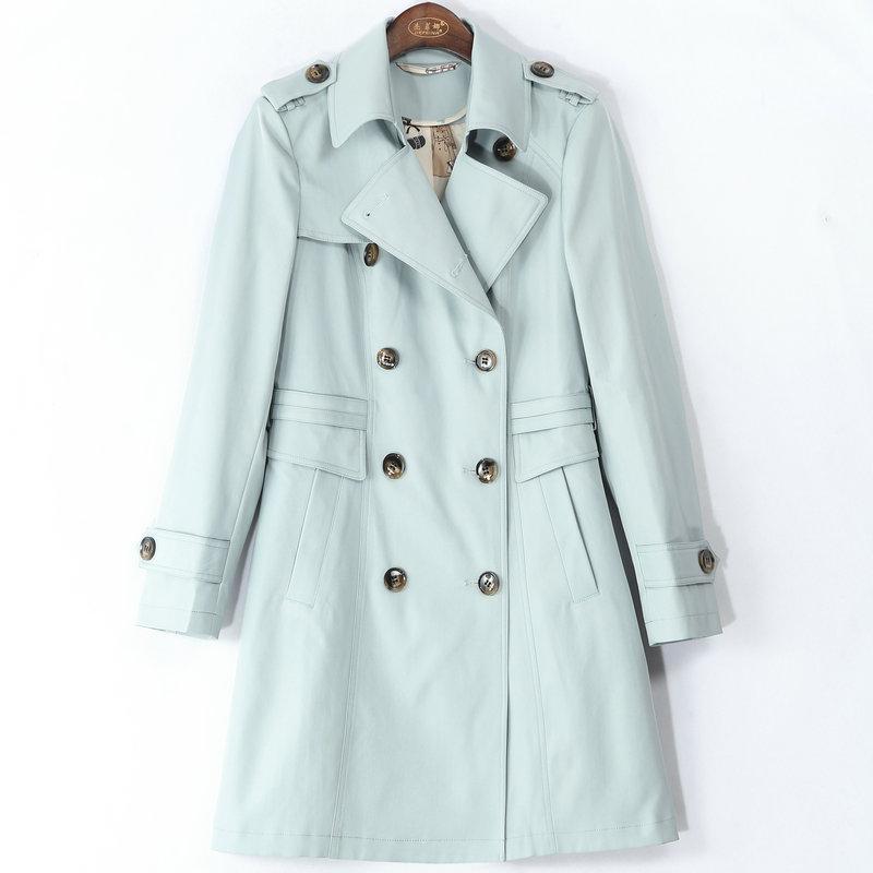 Girl   Trench   Coat Women Khaki Turn-Down Collar Casual Coats Female Double Breasted Windbreak Spring Outerwear PINK BLUE XXXL XXL