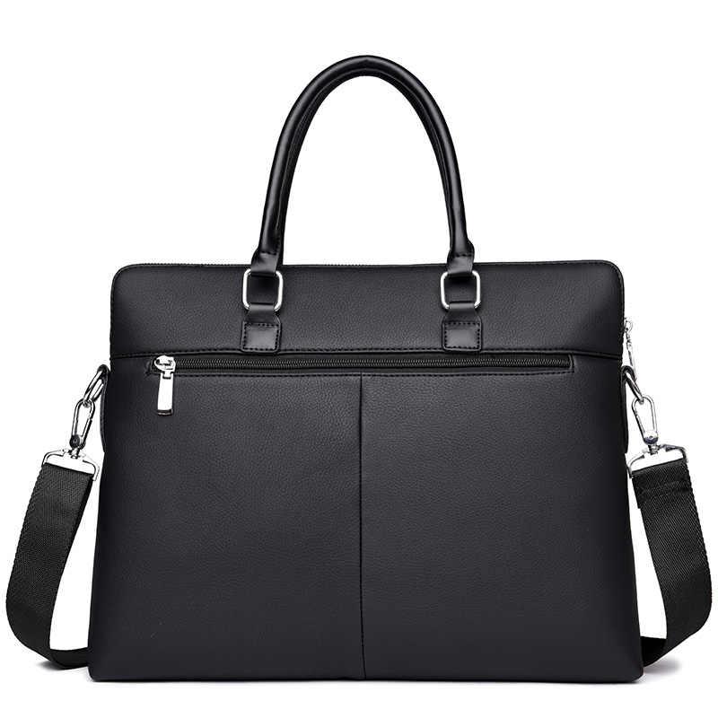0f526b45f00a ... Мужская Черная кожа офис сумка коричневый портфель человека ноутбук  Crossbody работать ноутбук сумки для деловых мужчин ...