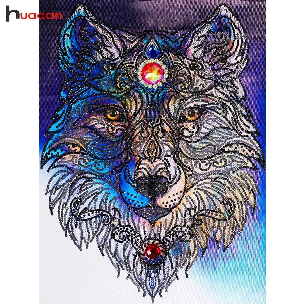 Huacan Special Shaped Diamond Embroidery Animal Wolf Mosaic Picture of Rhinestones DIY Diamond Painting Cross Stitch Home Decor