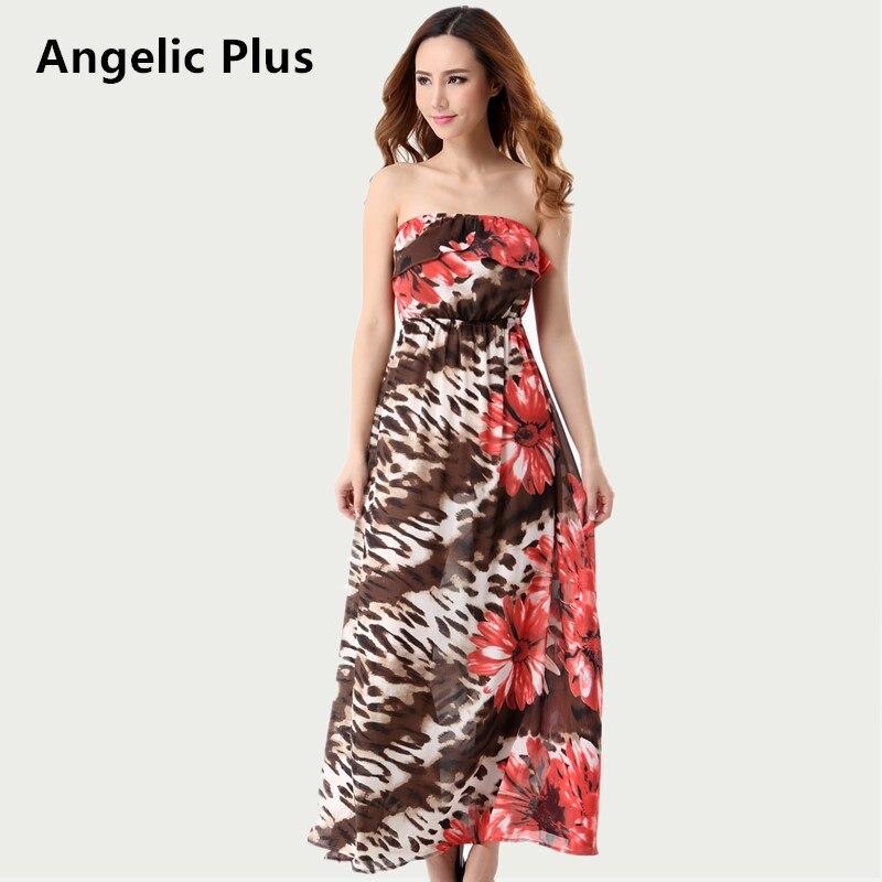 2018 Plus size Summer Women Bohemian Dress Girl's Sleeveless Strapless Printed Dress Lady's Beach Casual Dress clearance sales