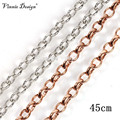 Vinnie Design Jewelry 45cm Round Link Rolo Chain for Coin Holder Pendant Belcher Chains Necklace 10pcs/lot