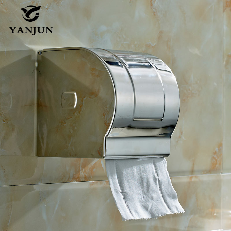 Yanjun Stainless Steel Toilet  Paper  Small Roll Holder With  Flap  Wall Mounted Bathroom Accessories YJ-8812 stainless steel wall mounted waterproof toilet roll paper holder of high capacity for toilet hotel and bathroom
