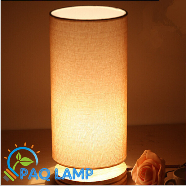 Sweet Table Lamp Wooden Light Led Cloth Cylindrical Shade Bed Room Office