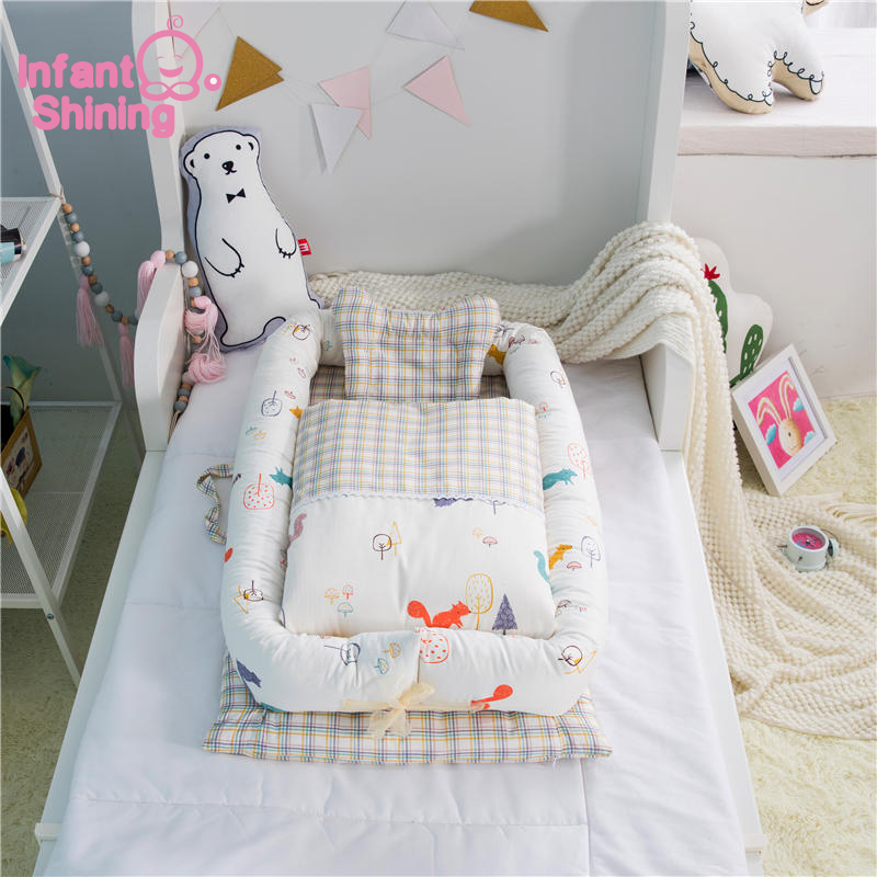 Infant Shining Portable Baby Crib Baby Nest Bed Cradle Cot Co-sleeping Bed 95*50*15cm(37*19*6in) Folding Bed For Baby Care