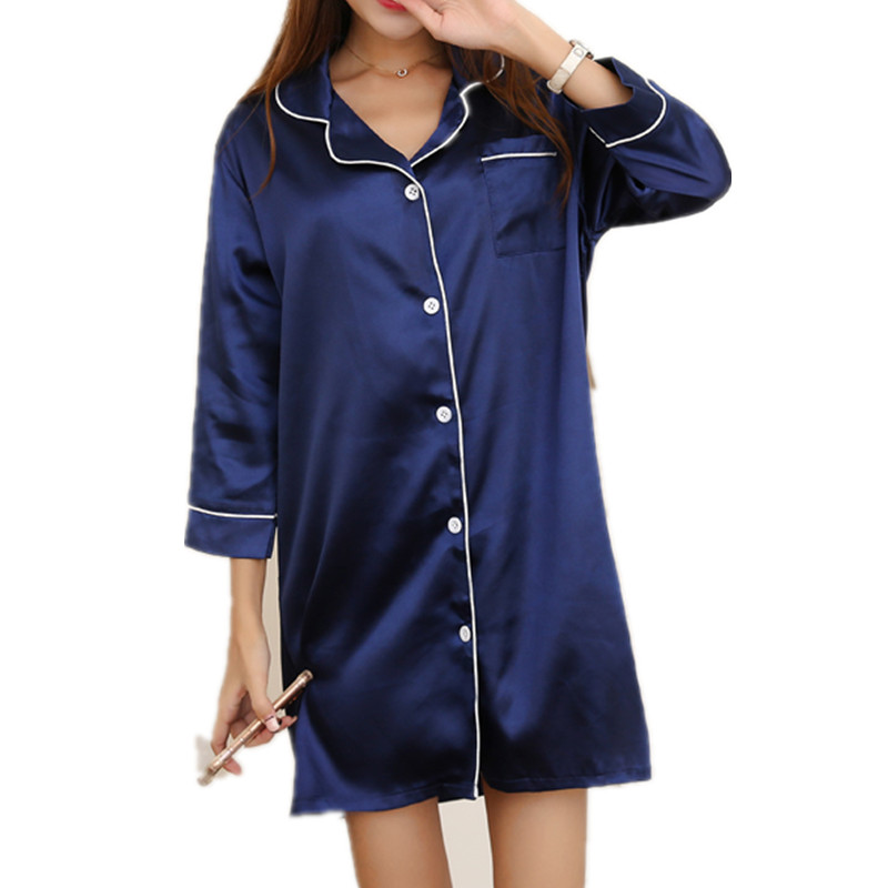 Satin   nightgowns     sleepshirts   elegant   nightgowns   for women female sleepwear teenage girl lounge bathrobe onesie 2017 new AB133