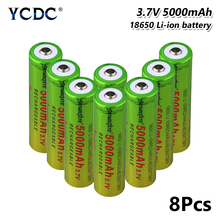 8pcs 18650 battery high capacity 5000mah 3.7v cell For electronic cigarette Rechargeable battery power high discharge mbr cell power foot