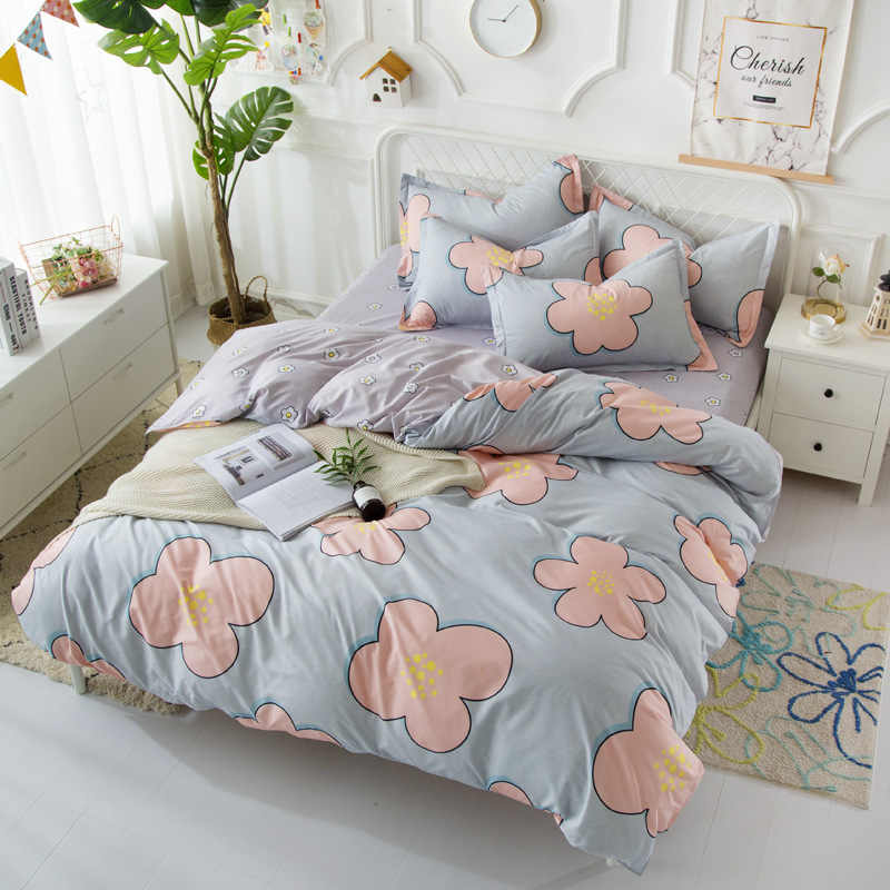 High Quality Soft Cotton pcs Bedding Set Adult Kids Duvet Cover Bed Linens Single Full Queen King Size Quilt Comforter case24