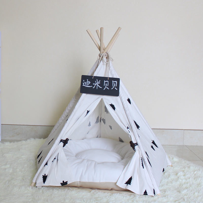 Black Tree Dog Tipi Bed Tent Without Cushion kess inhouse padgett mason hootie cutie fleece dog bed