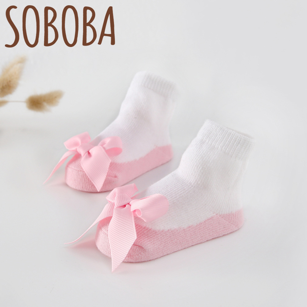 Soboba Baby Girls Socks for Children Cotton Bowknot Lace Candy Color Pink Cute Infant Newborn Socks Europen Style Socks цены онлайн