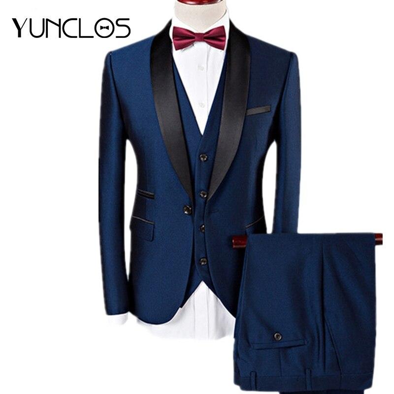 Aliexpress.com  Comprar YUNCLOS hombres traje de los hombres 3 piezas 2019  smoking azul marino boda trajes de boda para hombres caballeros casuales de  ... 280826013aa