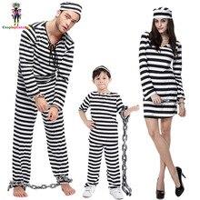 Хэллоуин вечерние Семья костюм осужденного пара заключенный костюмы для малышей в полоску с заключенным форма мужчина/Для женщин/Дети вампир костюм