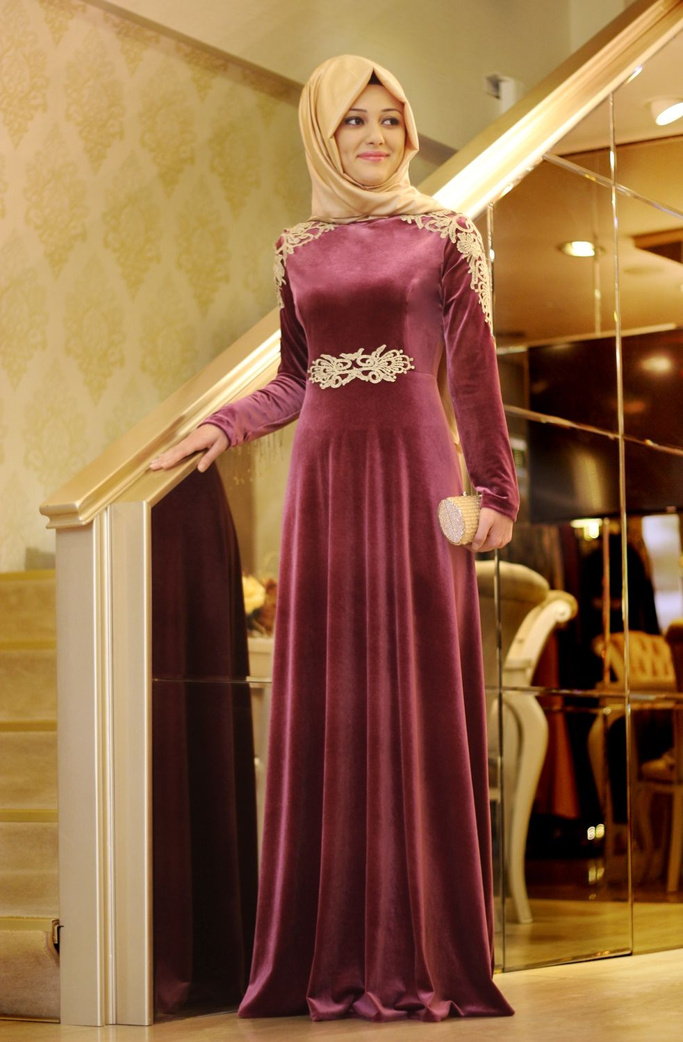 A line With font b Hijab b font Burgundy High Collar Long Sleeve Velvet Casual Embroidery