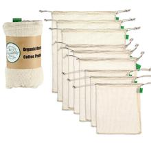 9 pcs ผ้าฝ้ายอินทรีย์ตาข่ายกระเป๋าผลิตผักผลไม้เก็บถุง Reusable ตาข่าย Pack Home Storage ตกแต่ง