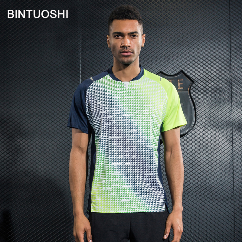 BINTUOSHI Mens Tennis Shirts Badminton T-Shirts Table Tennis Clothing Breathable Jersey Quick Dry Sports Tops