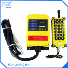 high quality 36V AC 1 Speed 1 Transmitter 21 Channels Hoist Crane Industrial Truck Radio Remote Control System Controller f21 2s dc24v 2 channels control hoist crane radio remote control system industrial remote control battery