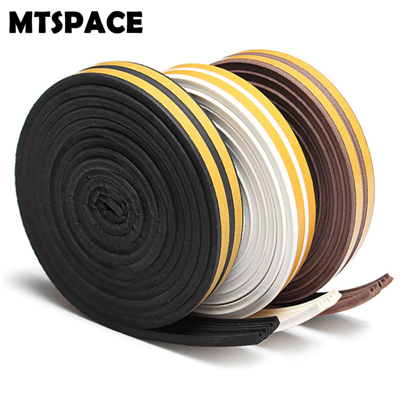 MTSPACE 2.5M/pcs E Type Foam Draught Excluder Self Adhesive Window Door Seal Strip for Door Dustproof Self Sticking Soundproof