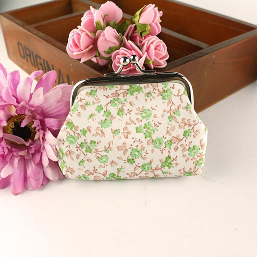 Girls Cute Floral Coin Bags Purse Women Lady Retro Vintage Flower Small Wallet Hasp Purse Clutch Bag Female Womens billetera A8