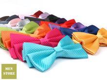 цена на Colorful Solid Plain Men Bow tie Pre-tied Tuxedo Necktie Woven Groom Wedding Mariage Party BowTie Neckwear BOM02