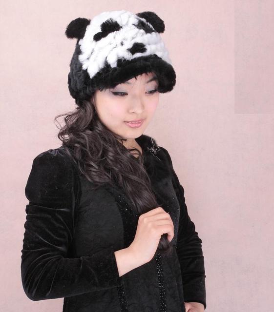 H322-Fashion new arrival ear panda  style women black and white baseball cap,knit rex rabbit fur hat