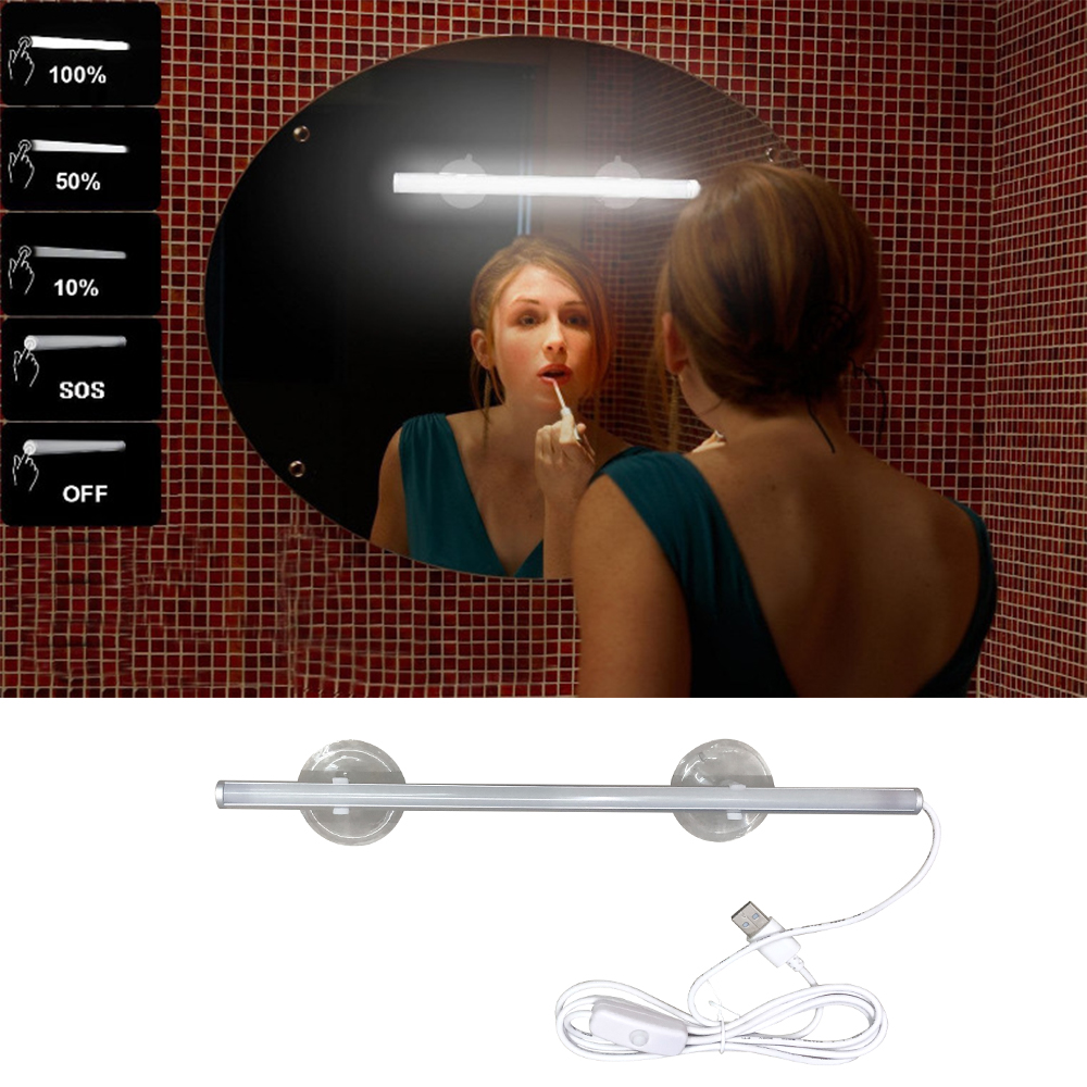 Makeup Light Long Strip USB Interface Dressing Table Bathroom Detachable Super Bright Cosmetic Mirror Light With suction cup