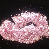 Pearl Pink Glitter Mix Size Nail Art Glitter Powder Hexagon Flakes UV Nail Glitter Powder Acrylic