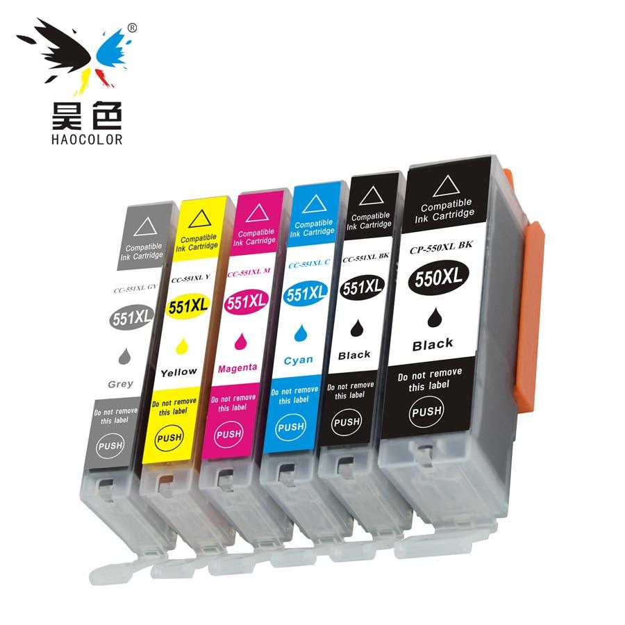 6 шт. совместимый полный чернильный картридж PGI 550 550XL PGI-550XLBK PGI4550XL CLI-551XL CLI 551 для принтеров Canon PIXMA MG6350 MG7150