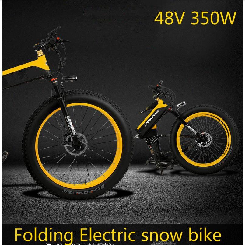 ce5ce3739fd רכיבה על אופניים Kalosse Folding frame electric beach bicycle M4000  electric snow bike 8A 48V 350W 27 speed mountain bike