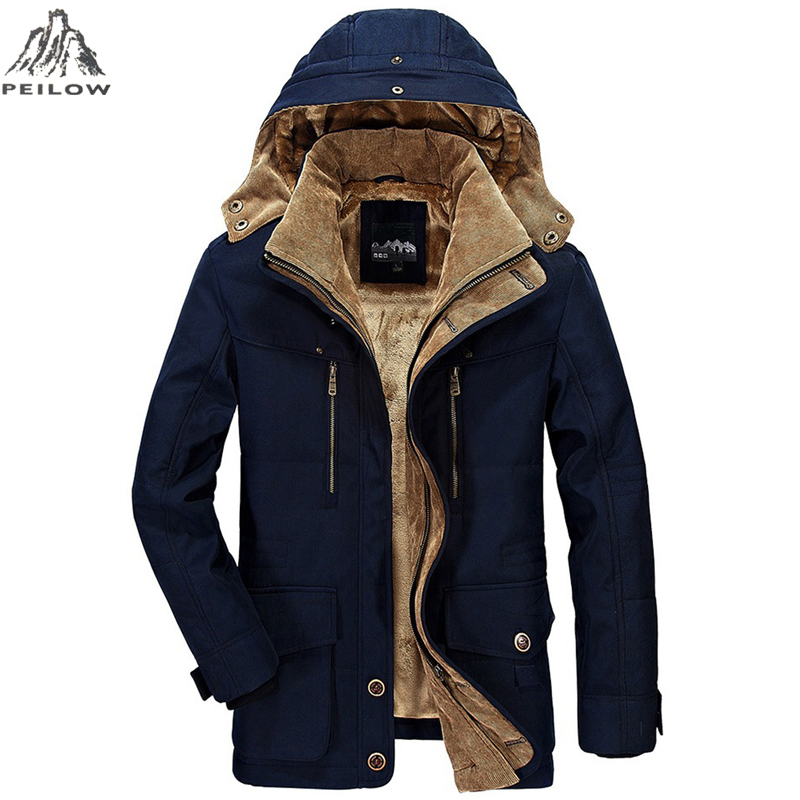PEILOW Winter Jacket Middle Age Men 5XL 6XL Thicken Coat Windbreaker High Quality Fleece Cotton-Padded Parkas Military Overcoat
