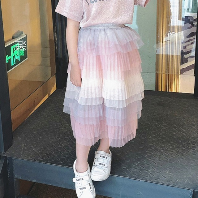 9750cd216 2019 faldas para niñas Baby Girl falda Arco Iris multicapa princesa  colorido mullido tul suave tutú niños plisada