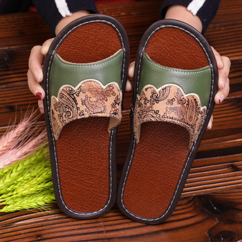 STONE VILLAGE Plus Size 35-44 Summer Indoor Household Home Slippers Non-Slip Couple Leather Slippers Shoes Men Women Slippers 1