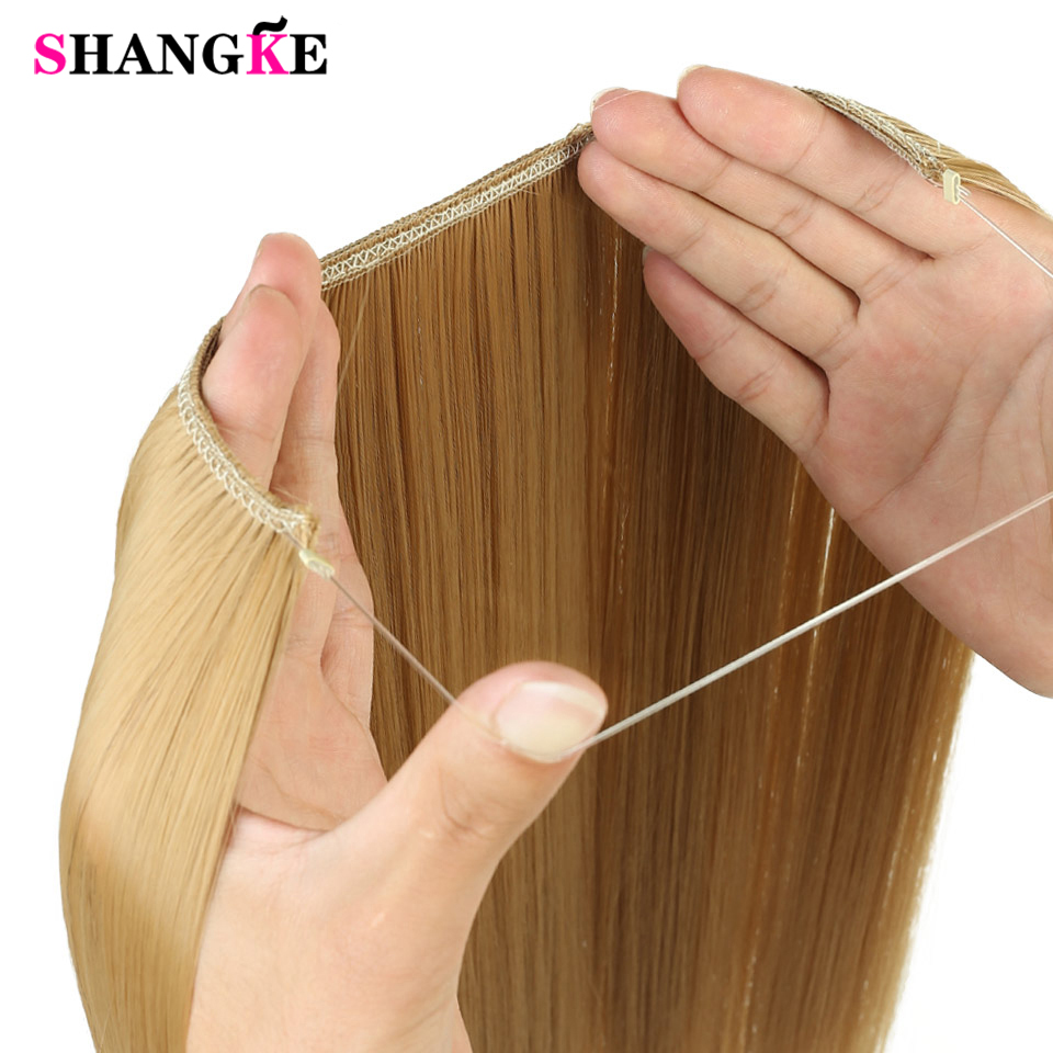 Fish Line Hairpiece Invisible Wire No Clips in Hair Extensions Secret Silky Straight real natural Synthetic SHANGKE
