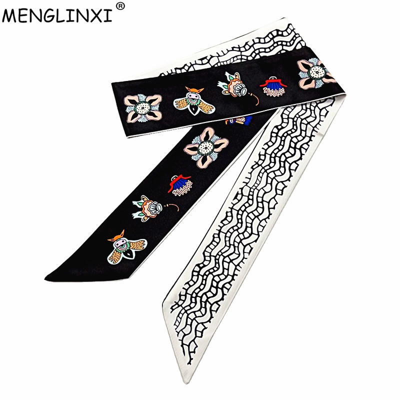 120cm Honeybee Print   Scarf   Women Silk   Scarf   Brand Bag Ribbons Fashion Head   Scarf   Long   Scarves     Wraps   Female Foulard For Ladies