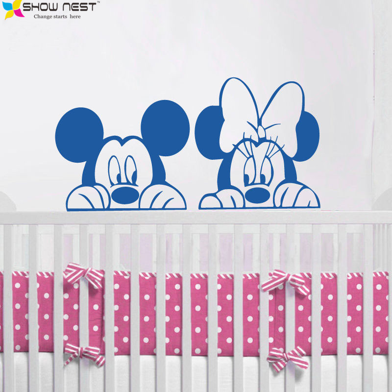Free Shipping Cartoon Mickey Minnie Mouse Wall Decals Vinyl Sticker Home  Decor Kids Bedroom Nursery Mural Wallpaper Design In Wall Stickers From  Home ... Part 81